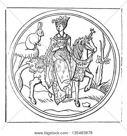 Lady Bunny, or Quadrupede, vintage engraved illustration. Magasin Pittoresque 1836.