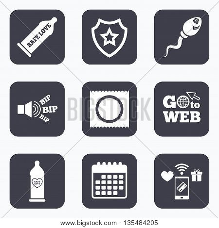 Mobile payments, wifi and calendar icons. Safe sex love icons. Condom in package symbol. Sperm sign. Fertilization or insemination. Heart symbol. Go to web symbol.