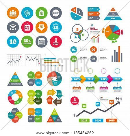 Wifi, calendar and web icons. Sale discounts icon. Shopping, clients and speech bubble signs. 20, 30, 40 and 50 percent off. Special offer symbols. Diagram charts design.
