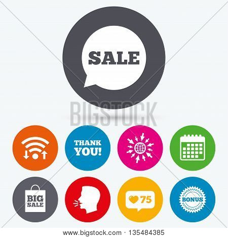 Wifi, like counter and calendar icons. Sale speech bubble icon. Thank you symbol. Bonus star circle sign. Big sale shopping bag. Human talk, go to web.
