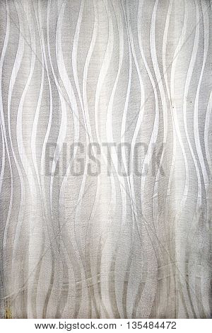 Smooth curtain cloth with nice silken white wavy design