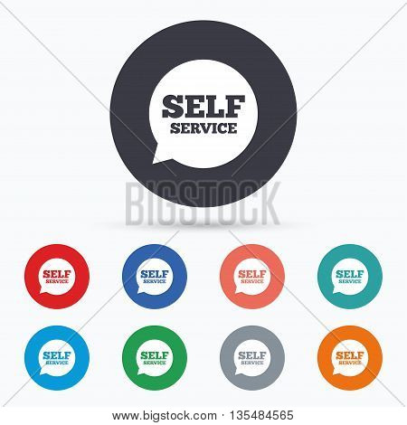 Self service sign icon. Maintenance symbol. Flat self service icon. Simple design self service symbol. Self service graphic element. Circle buttons with self service icon. Vector