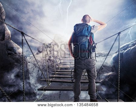 3D Rendering of explorer walks over a crumbling bridge