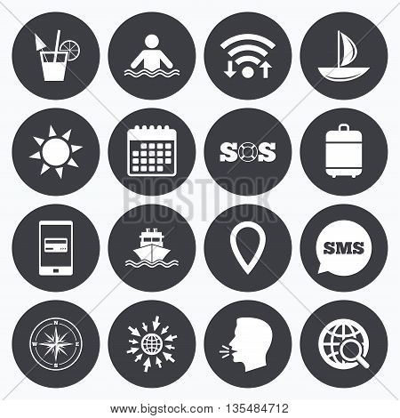 Wifi, calendar and mobile payments. Cruise trip, ship and yacht icons. Travel, cocktail and sun signs. Sos, windrose compass and swimming symbols. Sms speech bubble, go to web symbols.