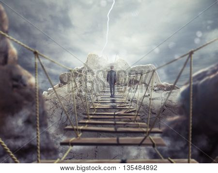 3D Rendering of man walks over a crumbling bridge