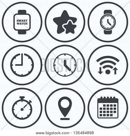 Clock, wifi and stars icons. Smart watch icons. Mechanical clock time, Stopwatch timer symbols. Wrist digital watch sign. Calendar symbol.