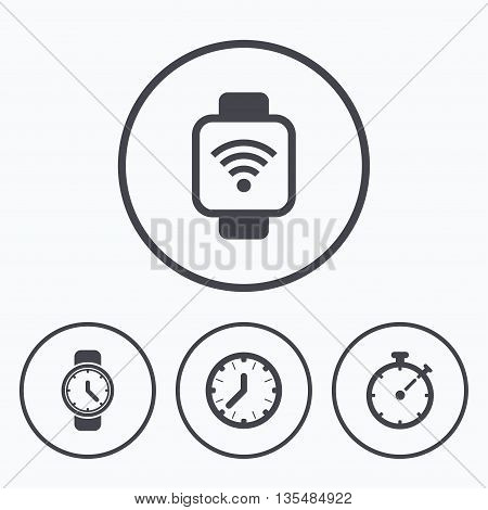 Smart watch wi-fi icons. Mechanical clock time, Stopwatch timer symbols. Wrist digital watch sign. Icons in circles.