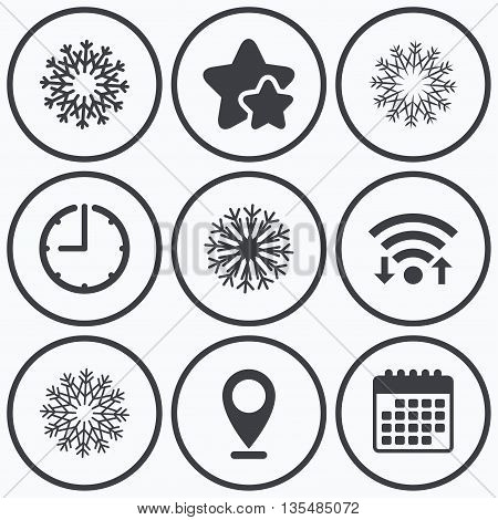 Clock, wifi and stars icons. Snowflakes artistic icons. Air conditioning signs. Christmas and New year winter symbols. Calendar symbol.