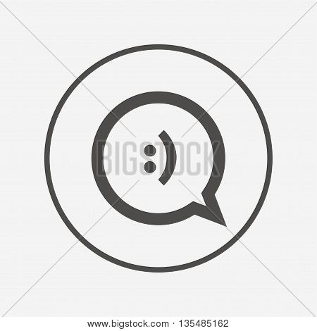 Chat sign icon. Speech bubble symbol. Flat speech bubble icon. Simple design speech bubble symbol. Speech bubble graphic element. Round button with flat speech bubble icon. Vector