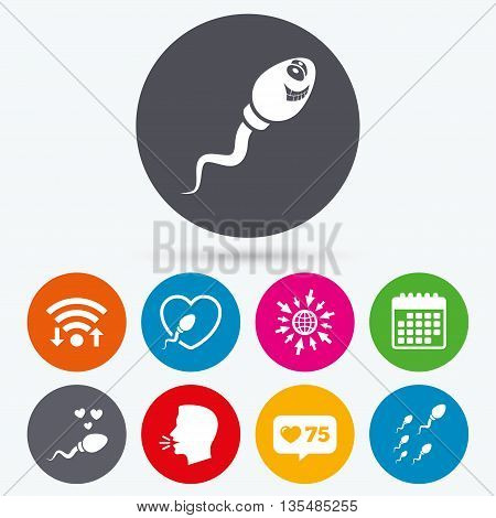 Wifi, like counter and calendar icons. Sperm icons. Fertilization or insemination signs. Safe love heart symbol. Human talk, go to web.