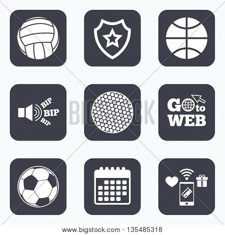 Mobile payments, wifi and calendar icons. Sport balls icons. Volleyball, Basketball, Soccer and Golf signs. Team sport games. Go to web symbol.