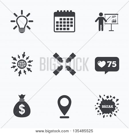 Calendar, like counter and go to web icons. Presentation billboard icon. Dollar cash money and lamp idea signs. Man standing with pointer. Teamwork symbol. Location pointer.