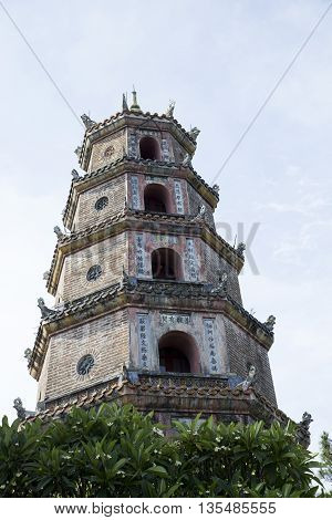 Close up portrait of Thien Mu buddha tower - a very well known sightseeing in Hue ancient capital, Vietnam.