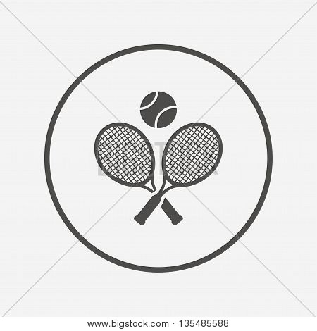 Tennis rackets with ball sign icon. Sport symbol Flat tennis rackets icon. Simple design tennis rackets symbol. Tennis rackets graphic element. Round button with flat tennis rackets icon. Vector