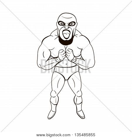 Mexican wrestler in the style of cartoons isolated on white background