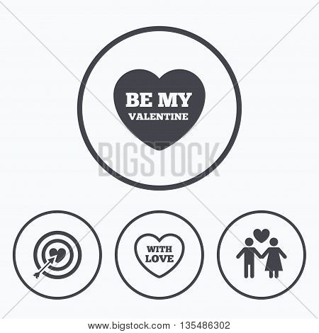 Valentine day love icons. Target aim with heart and arrow symbol. Couple lovers sign. Icons in circles.