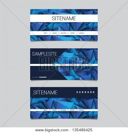 Web Design Elements - Header Design Set with Dark Blue Abstract Background Pattern