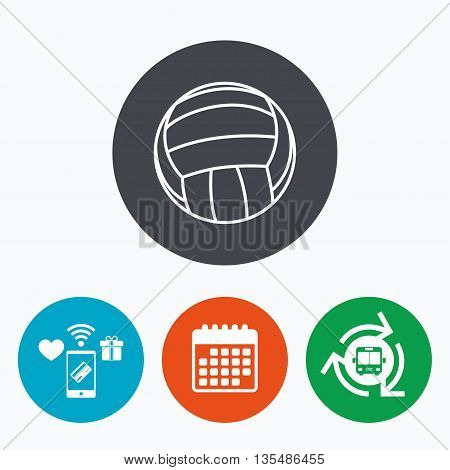 Volleyball sign icon. Beach sport symbol. Mobile payments, calendar and wifi icons. Bus shuttle.