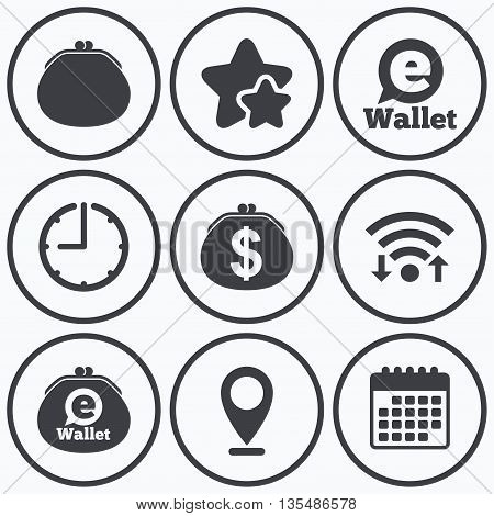 Clock, wifi and stars icons. Electronic wallet icons. Dollar cash bag sign. eWallet symbol. Calendar symbol.