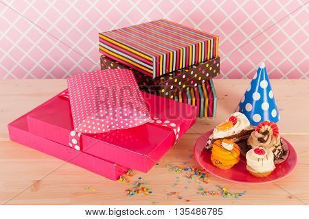 Birthday party with present and confetti