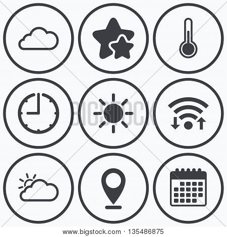 Clock, wifi and stars icons. Weather icons. Cloud and sun signs. Thermometer temperature symbol. Calendar symbol.