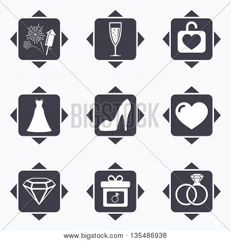 Icons with direction arrows. Wedding, engagement icons. Locker with heart, gift box and fireworks signs. Dress, heart and champagne glass symbols. Square buttons.