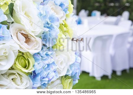 Artificial flowerartificial flower in the close-up scene.Colorful of the artificial flower in the wedding ceremony .