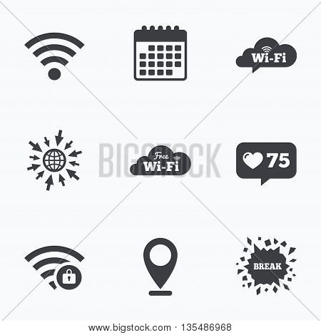 Calendar, like counter and go to web icons. Free Wifi Wireless Network cloud speech bubble icons. Wi-fi zone locked symbols. Password protected Wi-fi sign. Location pointer.