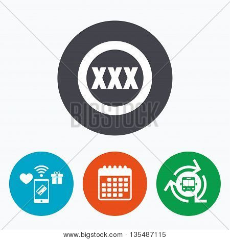 XXX sign icon. Adults only content symbol. Mobile payments, calendar and wifi icons. Bus shuttle.
