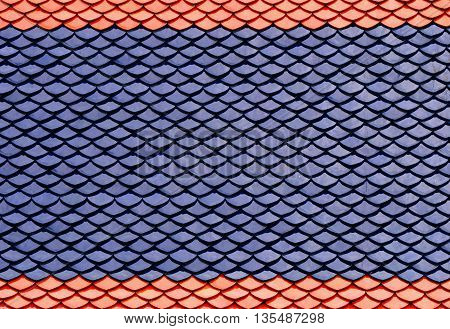 Blue roof top with orange of Thai Buddhism Temple