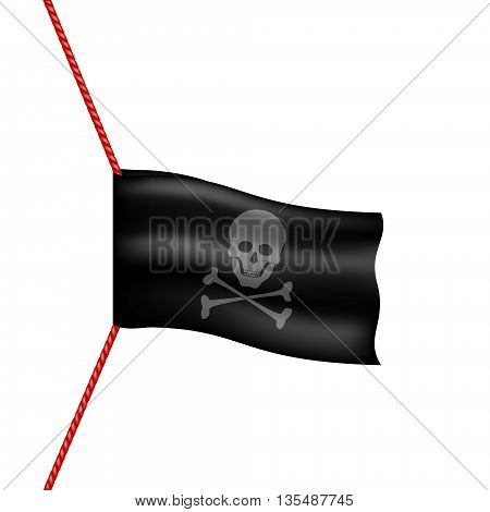Pirate flag with skull symbol hanging on red rope