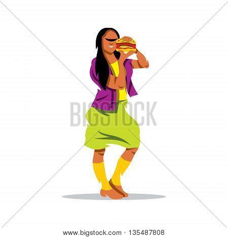 Girl eating hamburger. Isolated on white background.