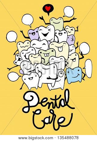 Hand drawing Set of small funny teeth characters scenes vector illustration