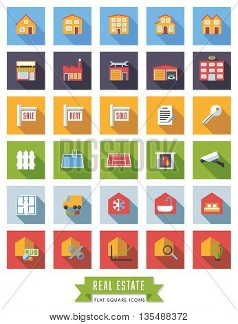 Collection of real estate flat design long shadow icons in colored squares