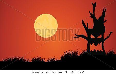 Silhouette of tree monster and full moon illustration