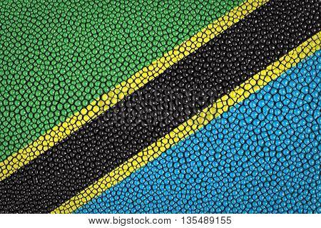 Tanzania Flag painted on stingray skin texture