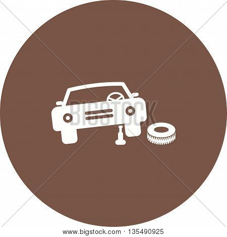 Car, wheel, jack icon vector image. Can also be used for car servicing. Suitable for use on web apps, mobile apps and print media.