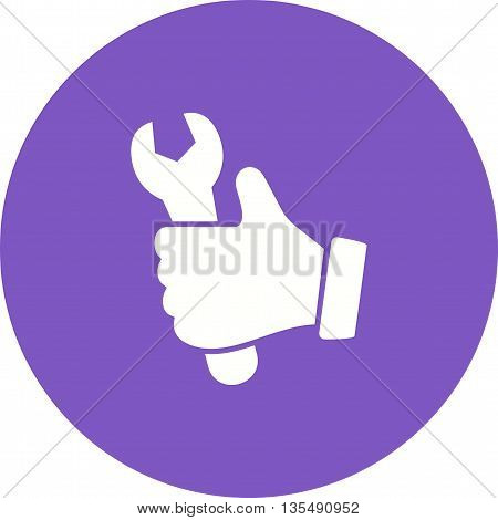 Wrench, hand, glove icon vector image. Can also be used for car servicing. Suitable for use on web apps, mobile apps and print media.