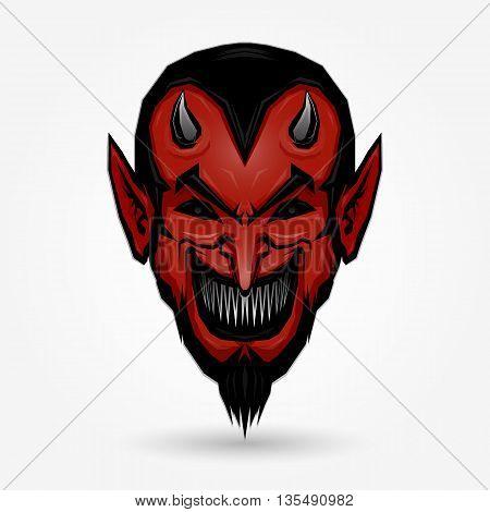 Red devil face design on gray background
