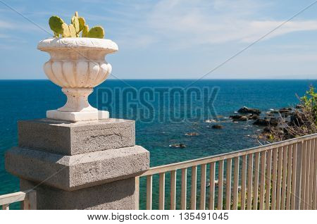 Ornamental cactus vase along the seafront of Acicastello a village in the province of Catania Sicily