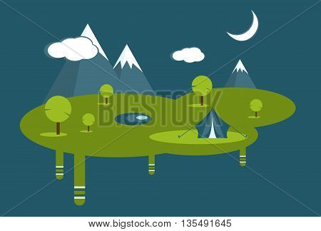 Vector summer design. Vector signs, elements for your design. Moon, clouds, mountains vector elements. Day and nigh flat vector design. Eps10