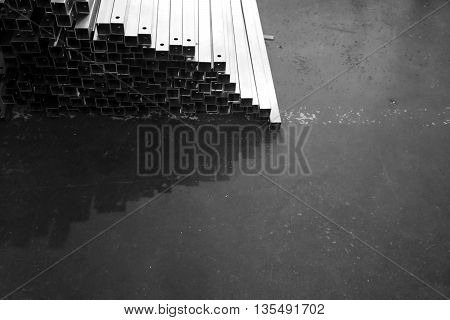 grop of metal stock with different size in warehouse