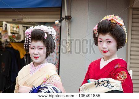 TOKYO, JAPAN - June 20 2016: Geisha on the streets of Asakusa. In Tokyo, Japan 2016
