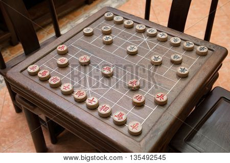 set of Chinese chesses and chessboard horizontal composition