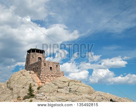 Harney Peak Watchtower in Custer State Park in the Black Hills of South Dakota USA which was built in 1938 by the Civilian Conservation Core