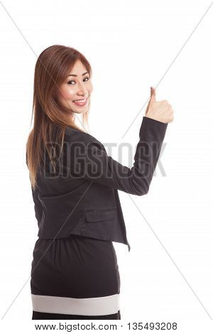 Young Asian Businesswoman Turn Back Thumbs Up