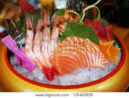 Close up of a cool colorful sushi bold (sashimi set)