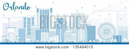 Outline Orlando Skyline with Blue Buildings. Business Travel and Tourism Concept with Orlando City. Image for Presentation Banner Placard and Web Site.