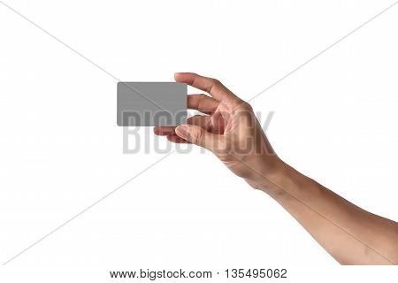 Close-up Of Man Hand Holding Blank Empty Credit Card Or Business Card., Isolated On White Background