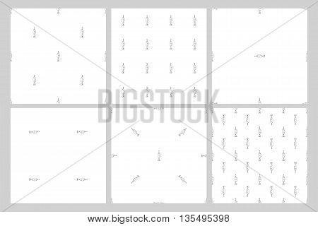 Set. Seamless pattern bait fish vector illustration